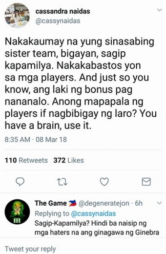 Japeth Aguilar's GF has a message for the Ginebra Haters and