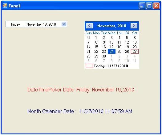 datetimepicker and month calendar in c mrustechcsharplearning. Black Bedroom Furniture Sets. Home Design Ideas