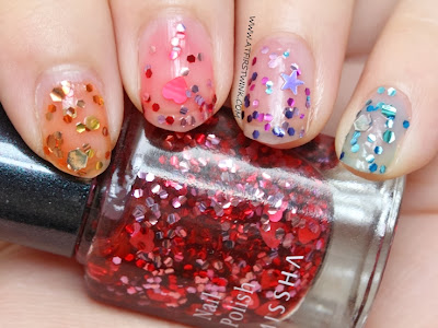 Rainbow ombre glitter nails with the Missha the style nail polishes - gem stone