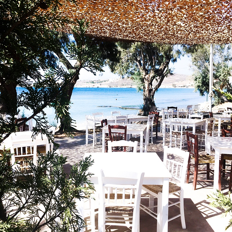 pretty Paros island restaurants and taverns with sea view