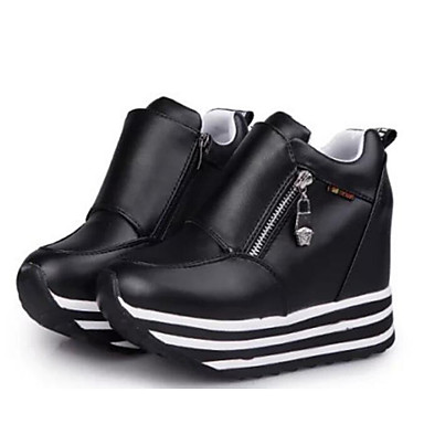 Women's Shoes PU(Polyurethane) Spring / Fall Comfort Sneakers Creepers Booties / Ankle Boots White / Black / Red