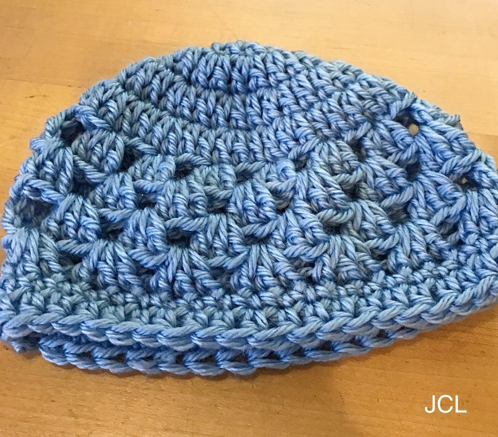 Julie s Creative Lifestyle  Crochet Granny Square Baby Blue Beanie 73d8fd750de