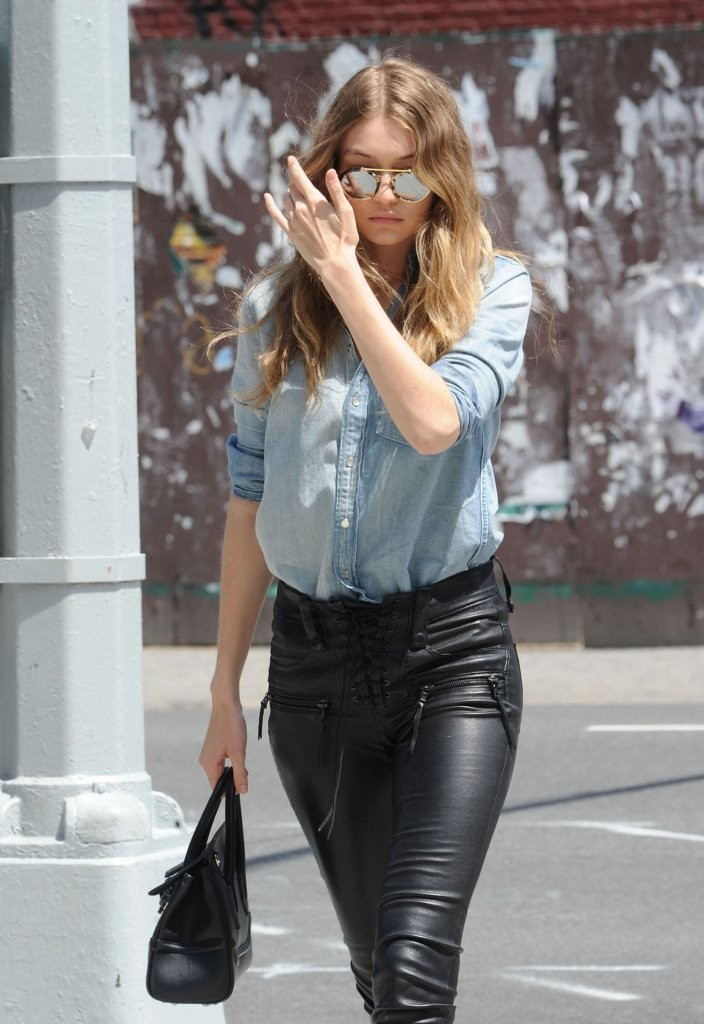 Lovely Ladies In Leather Gigi Hadid In Leather Pants