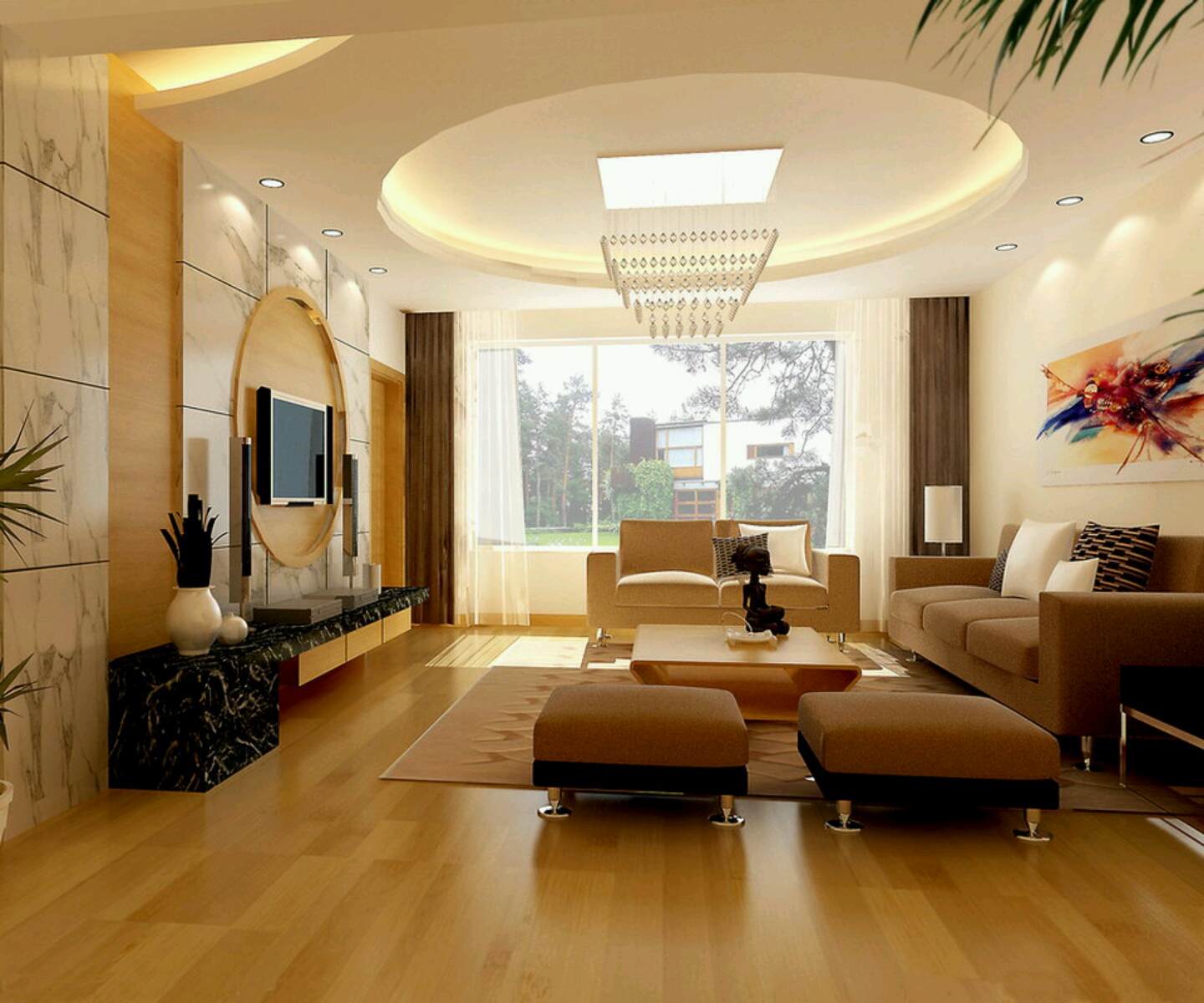 Modern interior decoration living rooms ceiling designs for Decorated living rooms photos