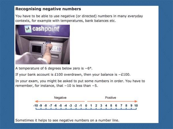 Recognising negative numbers in Bitesize