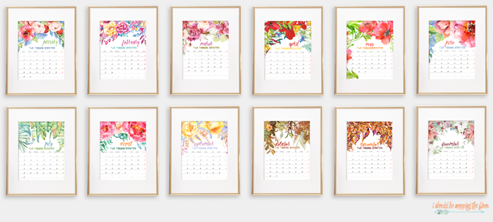 2017 Printable Watercolor Calendar | This beautiful 12-month calendar is the perfect accent to any decor. Instantly print and display. Each page fits an 8x10 frame.