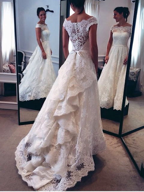 Classic Off-The-Shoulder Tiered Lace A-Line Wedding Dress (11342037)