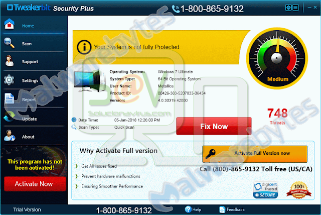 Tweakerbit Security Plus (Falso optimizador)