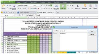 Komentar Pada Sel Spreadsheet dan Excel