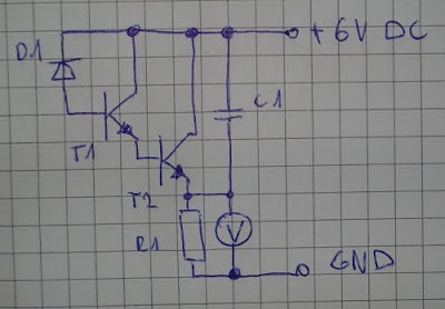 Circuit diagram of a light intensity meter with diode