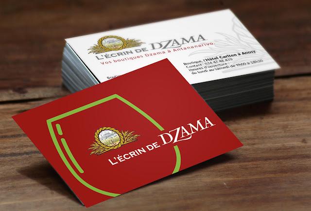 création carte de visite de visite boutique Écrin de Dzama Antananarivo