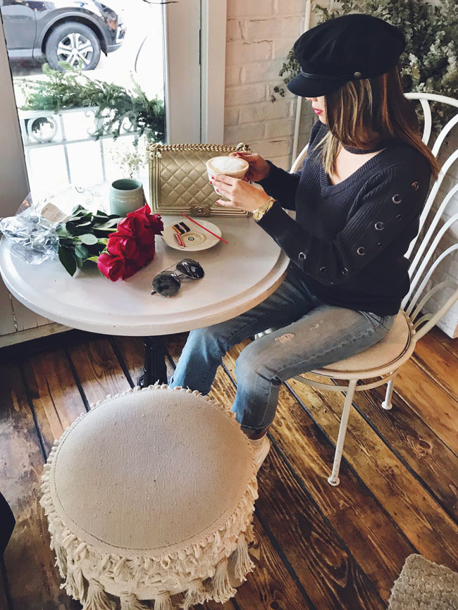 How to style a photoshoot in a coffee shop, Chicago Coffee Shop, Best Sweater Style
