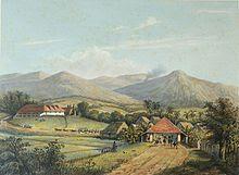 Dataran Tinggi Parahyangan, dilihat dari Bogor (k. 1865-1872). gambar wisataarea.com