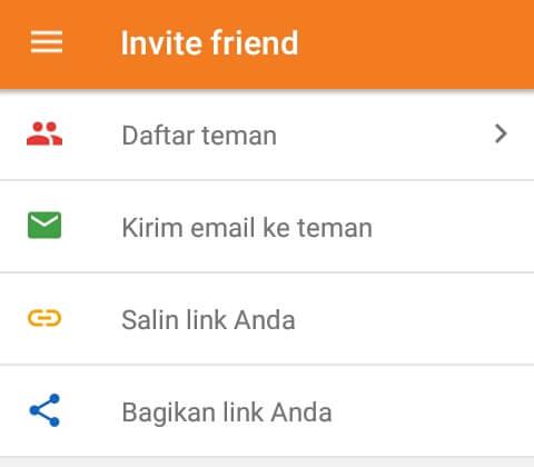 "Silahkan Undang Teman Anda pada menu ""Invite Friend"" dan suruh teman Anda untuk menyelesaikan proses pendaftaran."