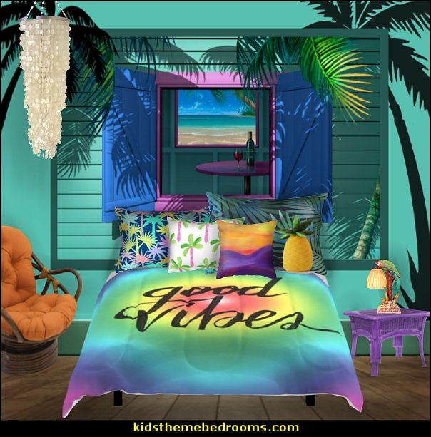 beach boho style bedroom  Tropical bedroom ideas - tropical bedroom decor - tropical beach style bedroom decorating ideas - tropical wall murals - palm trees decor  - tropical furniture - tropical bedding - island style bedding - ocean wall decorations - tropical birds decor - raffia decorations - tropical luau Hawaiian bedrooms - surfer bedroom ideas -  tropical wallpaper - tropical decor - beach bedroom ideas - Flamingo  decor
