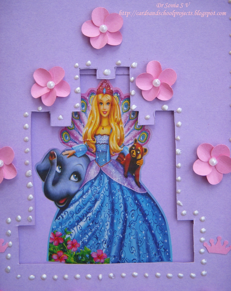 Cards Crafts Kids Projects Sliding Barbie Princess Castle Card