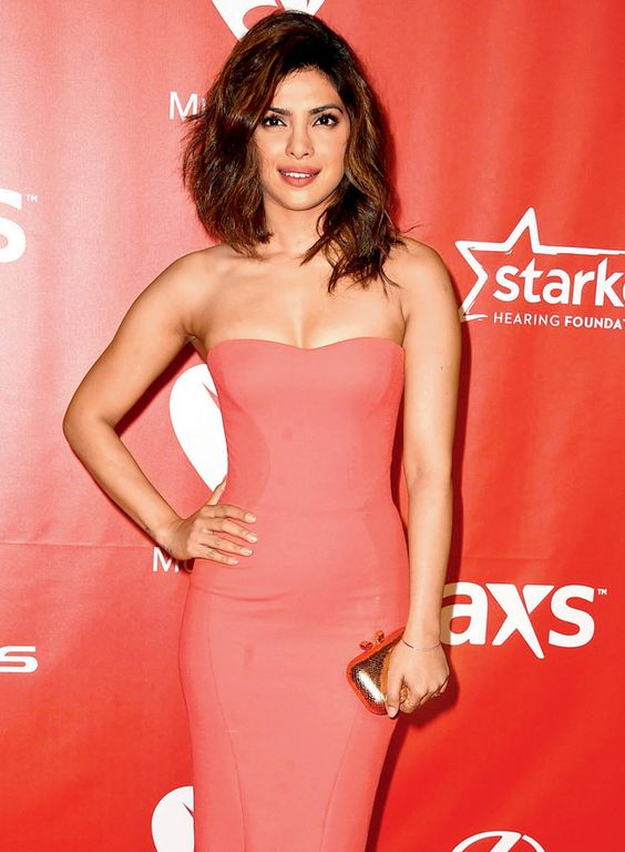 Bollywood Actress Priyanka Chopra in Pink Dress