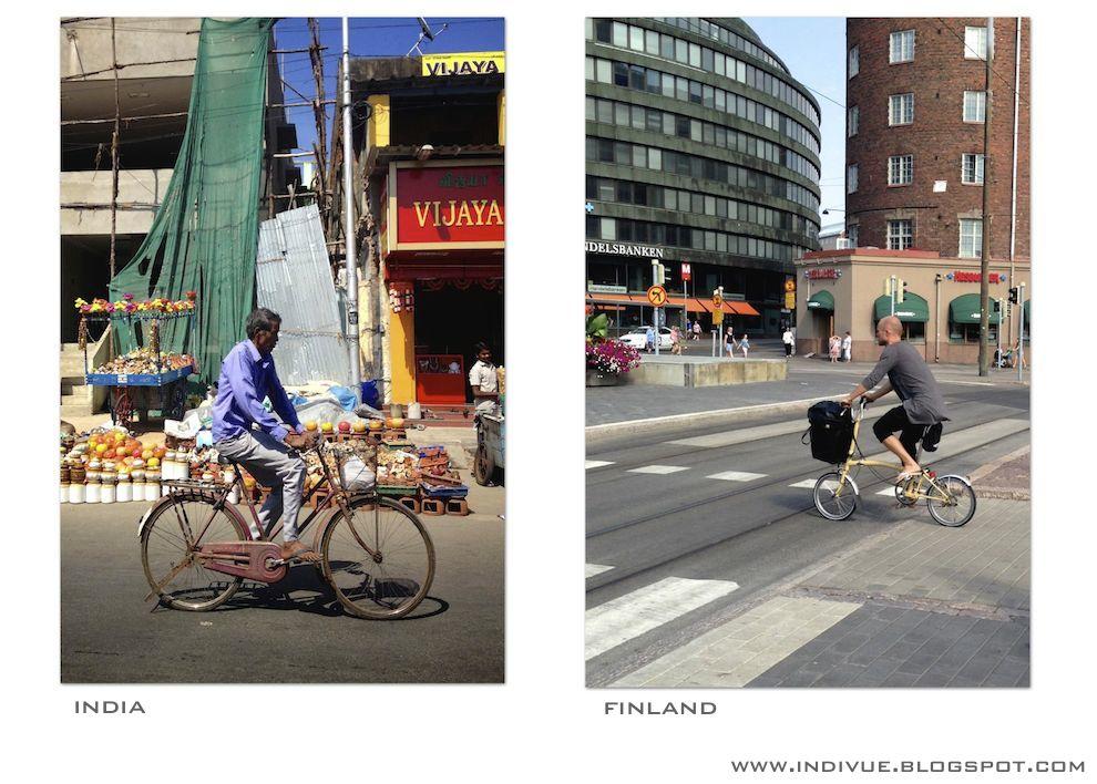 Polkupyöräilijä Intiassa ja Suomessa