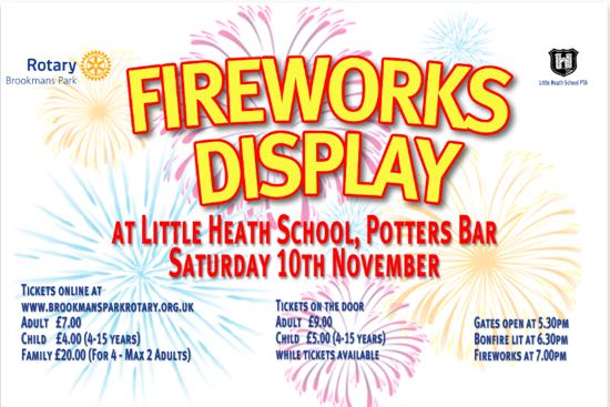 The flyer for the 2018 Little Heath fireworks display