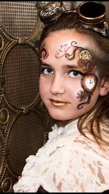 steampunk face painting, clock makeup