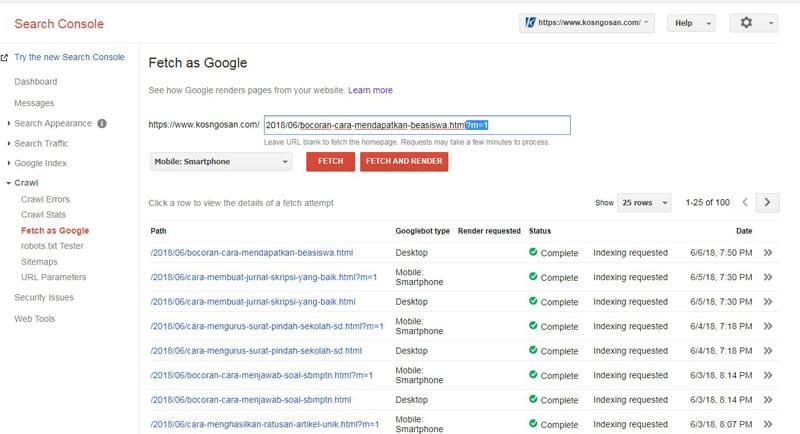 Tips Postingan Blog versi Mobile Cepat Terindeks Mesin Pencari Google