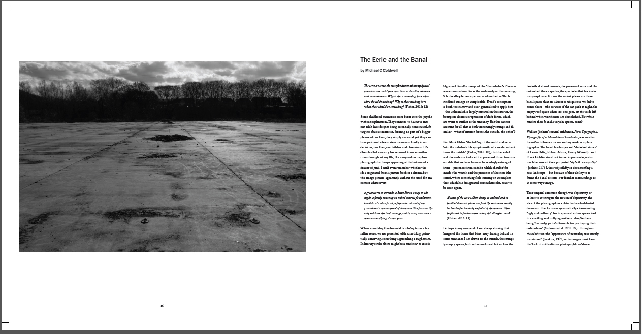 Pages from Failures of Presence including essay The Eerie and the Banal