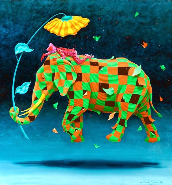 Elefante ll - Claudio Souza Pinto e suas pinturas cheias de cor e criatividade