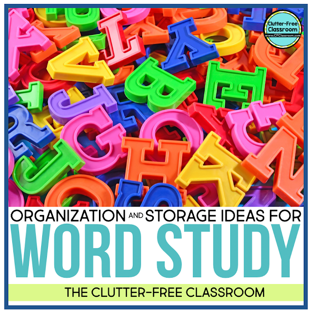 Word study opens the door to so many great manipulative like magnetic letters, tiles, dry erase boards and markers, and more! How can we organize them all? I have tons of free tips on how to use bins, files, folders, drawers, and baskets to organize literacy centers, stations, and activities.