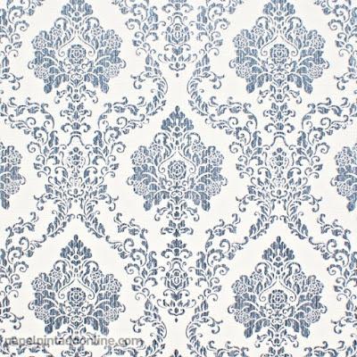 Papel Pintado Vintage Blanco y Azul Marino 5972-08