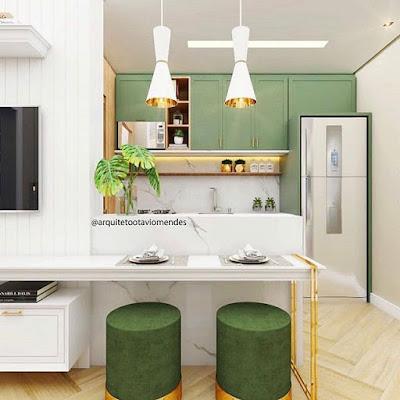 desain dapur dengan nuansa hijau