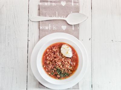 Zuppa di farro-rape rosse-panna acida