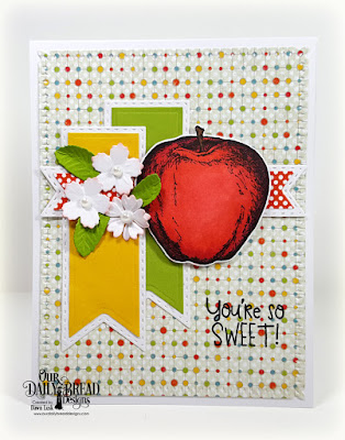 Our Daily Bread Designs Stamp Set: Seeds of Knowledge, Custom Dies: A+ Apples, Teacher's Apples, Bitty Blossoms, Double Stitched Pennant Flags, Pennant Flags, Snowflake Sky, Paper Collections: Birthday Brights, Birthday Bash