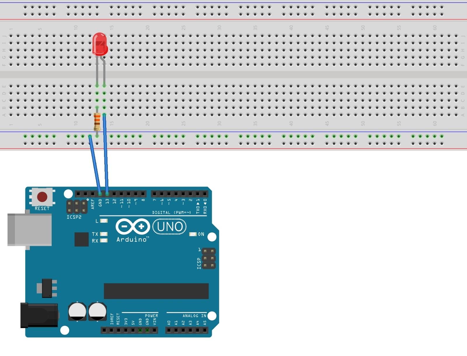 Single Led Blinking Program By Arduino Flasher Circuit