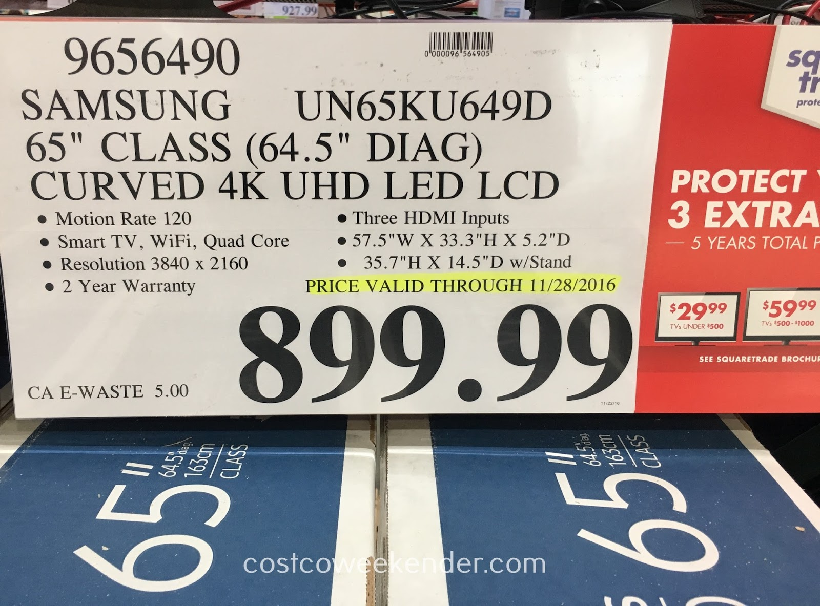 Costco 9656490 - Deal for the Samsung UN65KU649 65 inch curved tv at Costco