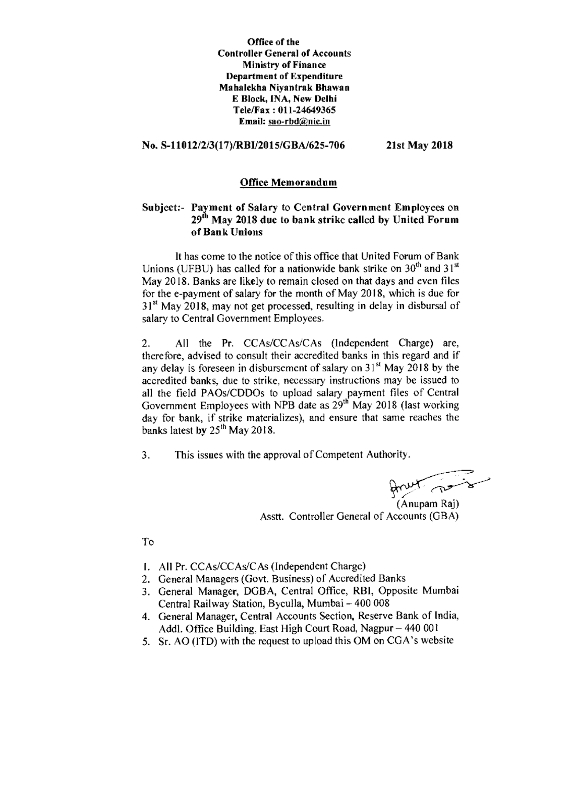 All Oral Orders To Be Confirmed In Writing  Directorate Letter