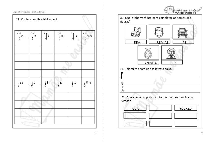 Família silábica, sílabas simples, letra J