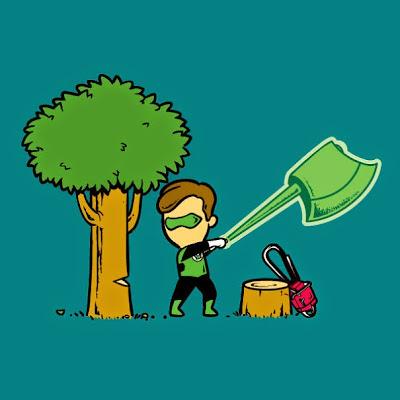 Linterna verde podando árboles.