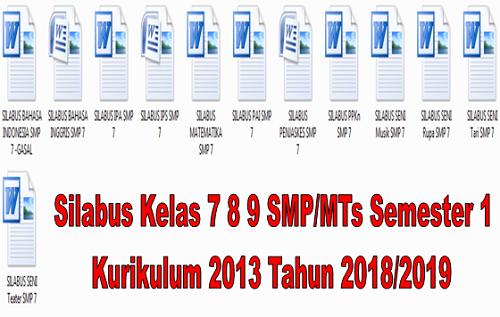 Silabus Kelas 7 8 9 SMP/MTs Semester 1 Kurikulum 2013 Tahun 2018/2019 - Homesdku