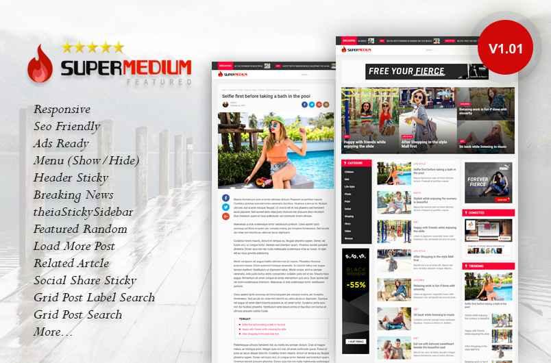 Supermedium Featured Random Responsive Blogger Template