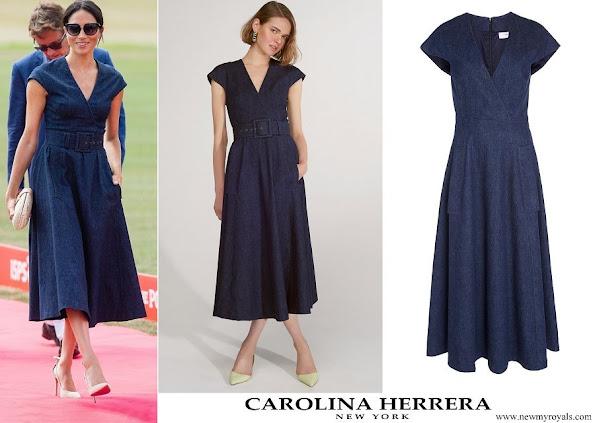 Meghan Markle wore Carolina Herrera V-neck Faux Wrap Midi Dress