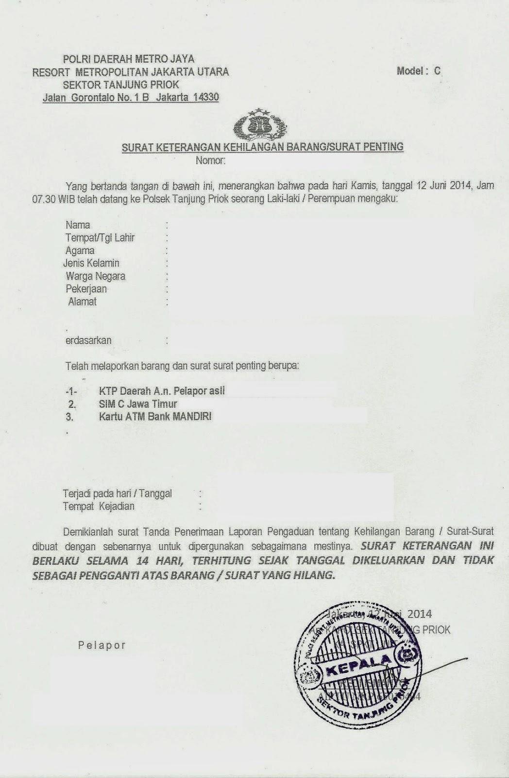 Zwitsal: Surat Keterangan Kehilangan dari Kantor Polisi ...