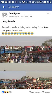 Busted: Atiku Rented his Kano Campaign Rally Crowd arrived Kano State since yesterday. (Photos)