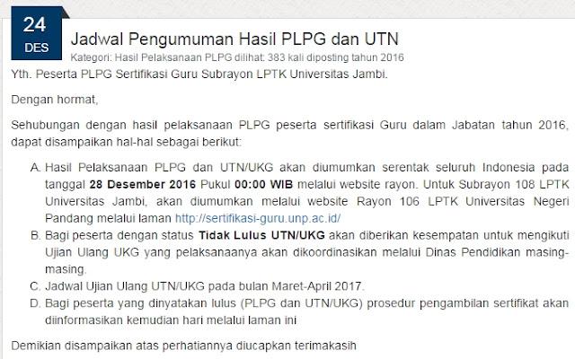 Hasil Pelaksanaan PLPG dan UTN/UKG akan diumumkan serentak seluruh Indonesia pada tanggal 28 Desember 2016