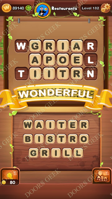 Word Bright Level 102 Answers, Cheats, Solutions, Walkthrough for android, iphone, ipad and ipod