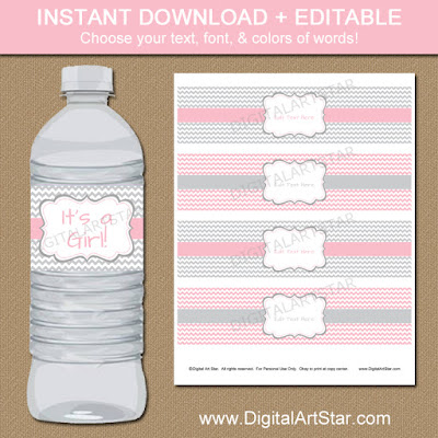 printable baby shower party favors - water bottle labels with pink and gray chevron