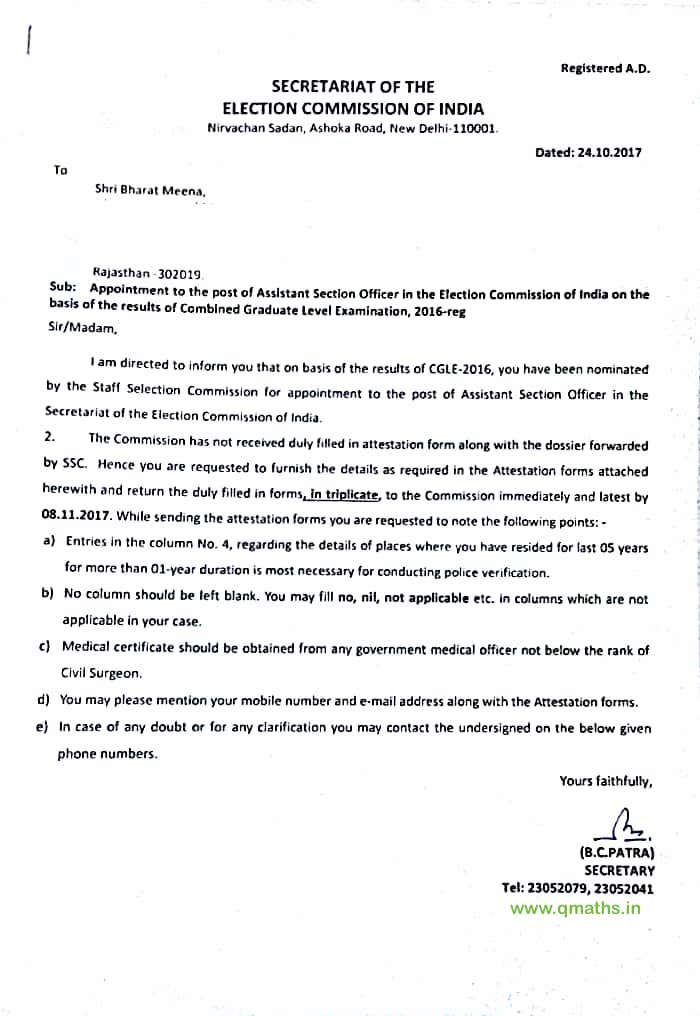 Letter Regarding Appointment Issued To Aso Eci For Ssc Cgl