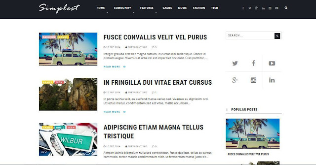 Simplest Simple - Template Blog Simple Sederhana Gratis