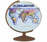 Grapic (c)Erika Grey of a globe with Globalization in blue capital letters across the top of the Globe and below is a map of the world and a blue line encircling the continents and joining them together signifying the uniting of the countries of the world in globalzation