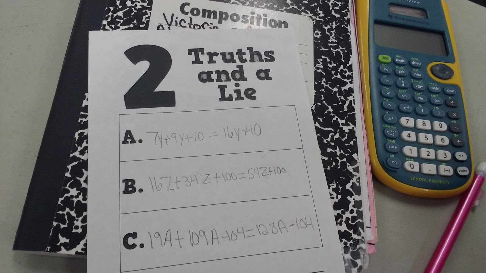 Math Love Two Truths And A Lie Combining Like Terms