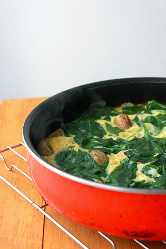 Potato Spinach Frittata, stovetop frittata recipe, easy frittata recipe